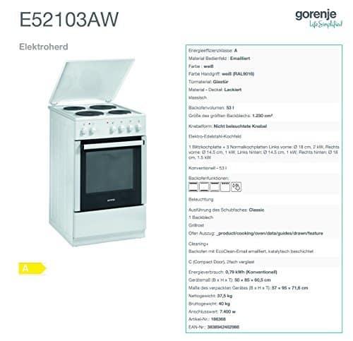 Gorenje E52103aw Elektroherd Top Kundenbewertung