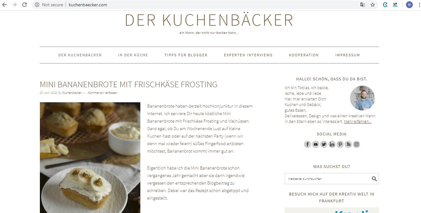 """Top Back Blogs: """"Ein Mann, der nicht nur backen kann"""" - Interview mit Tobias Müller von kuchenbaecker.com"""